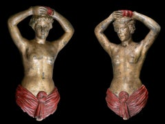 Pair of 19th C Carousel Decorative Female Torsos attributed to Charles I.D. Luff