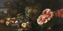 17th Century Giovanni Paolo Castelli Spadino Still life Oil on Canvas Pink Red
