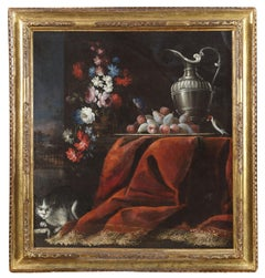 18th Century Ludovico Stern Still Life Flowers Fruits Rug Oil on Canvas Red Blue