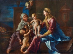 17th Century Francesco Cozza Holy Family Madonna with Child oil on canvas Blue