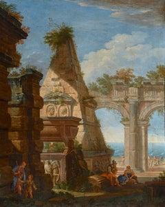 17th Century Francesco Garola Architectural Capriccio Landscape Oil on Canvas