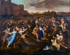 17th Century Francesco Allegrini the Rape of Sabines Oil on Canvas Orange Blue