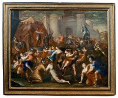 17th Century Francesco Allegrini The rape of Sabines Historical Oil on Canvas