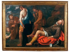 17Th Century Noah's Drunkness Religious Oil on Canvas Red Blue