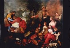 17th Century Andrea De Ferrari Laban's Reconciliation Religious Oil on Canvas