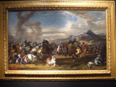 17th Century Antonio Calza Battle War Oil on Canvas Blue Red Yellow White