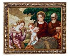 16th Century Polidoro da Lanciano Mystical Marriage Saint Catherine Oil on Panel