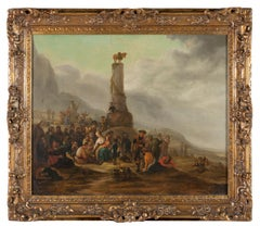 17th Century Theodor Helmbreker Religious Theme Byblic Oil on Canvas Yellow Red
