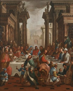 18th Century Antonio Cifrondi Marriage in Cana Religoius Oil on Canvas Red Grey