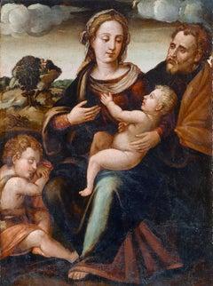 16th Century Francesco Foschi Holy Family Madonna Oil on Panel Brown Yellow Gold
