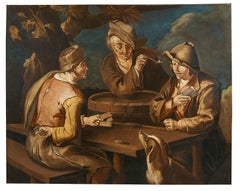 18th Century Cipper Todeschini Card Players CardShaperper Oil on Canvas Yellow
