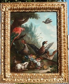 17th Century Agostino Cassana Animals Nature Landscape Oil on Canvas Green Red