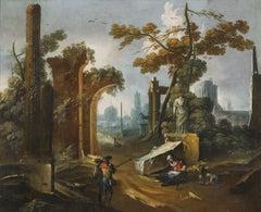 18th Century Gaetano Vetturali Landscape Capriccio Oil on Canvas Green Brown