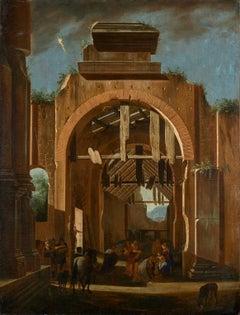 17th Century Niccolò Codazzi Capriccio Architectural Oil on Canvas Brown