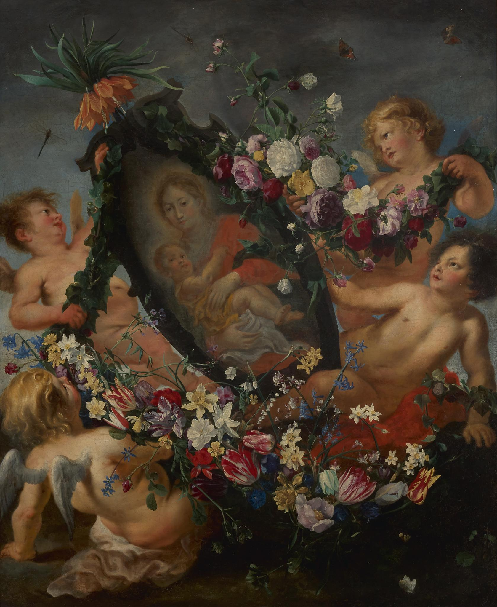 Flower guirlande containing the Holy Mother and Child, carried by four angels