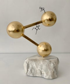 Share Symbol, metal, marble and gold leaf sculpture