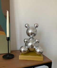 Silver Leaf Imitation Metal Bear Sculpture 2021