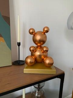 Red Gold Leaf Imitation 1.0 Metal Bear Sculpture, 2021