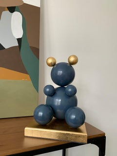 Blue and Gold Metal Bear Sculpture 2021