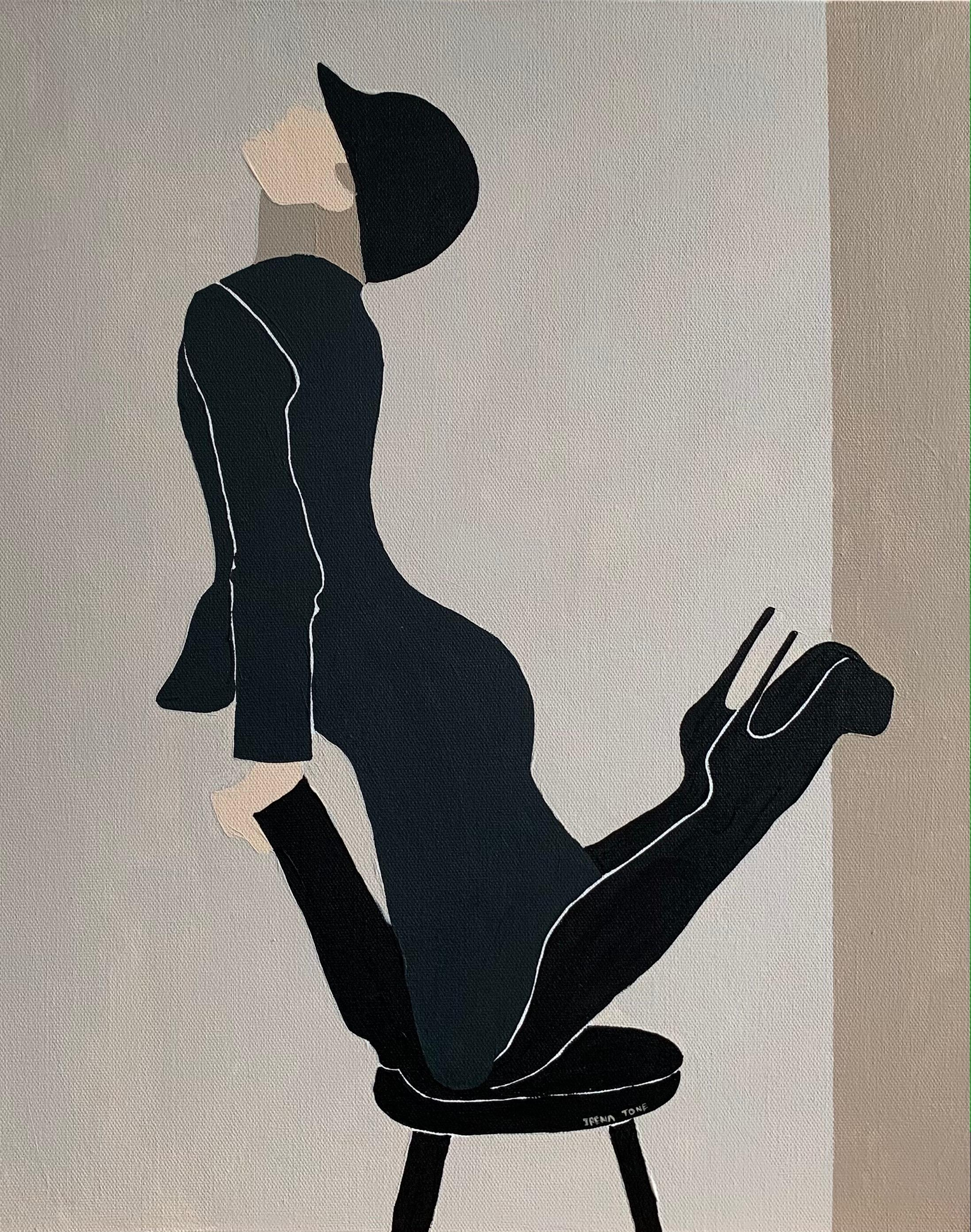 Beige: stool, woman abstract portrait painting, 2021
