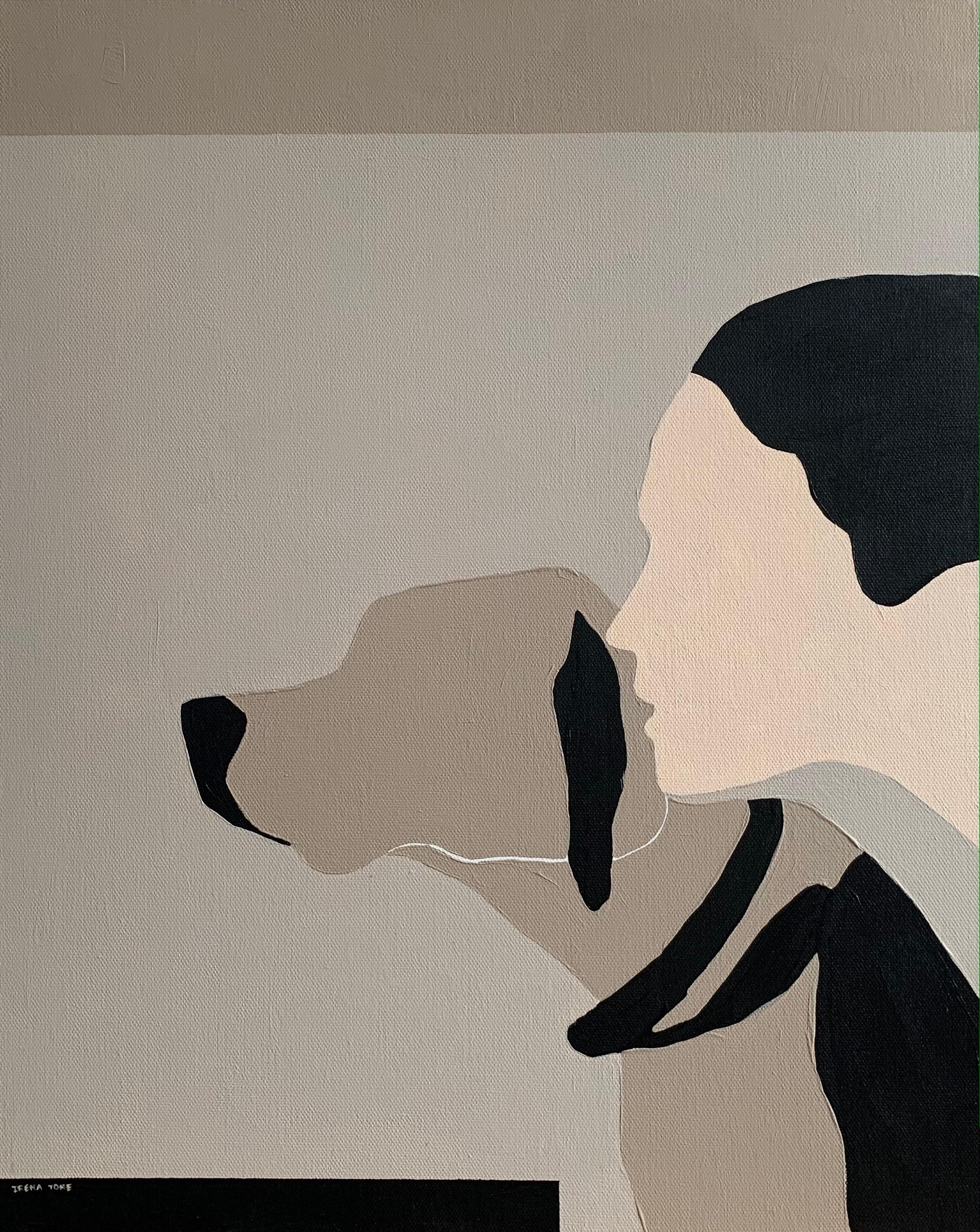 Beige: dog, woman abstract portrait painting, 2021