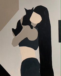 Beige: cat, woman abstract portrait painting, 2021