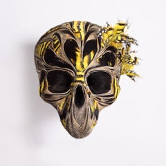 Violette, Skull, Recycled feathers on resin, base in brass