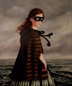 Silent Grey - Oil Painting, Girl in Mask with Ocean, Old World Dress, Portrait