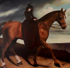 This Way -  Oil Painting, Masked Girl on horse in traditional 14th century dress