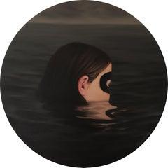 Huntress - Circular Portrait of Masked Girl in River, Water Portrait Scene
