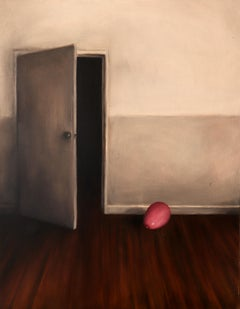A Little Fright - Old Masters Painting of Door with Balloon, Grey and Pink