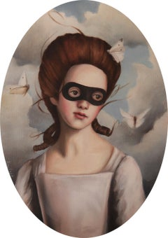Plentiful - Oval Portrait of Masked Woman with sky background and butterflies