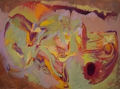 Its still life 8 - Mauve, Yellow, Orange, Light Green Abstract Expression