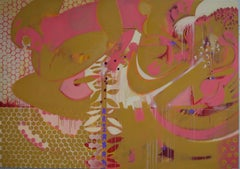 Its still life 7 - Abstract, Mustard, Pink, white, Honeycomb shapes