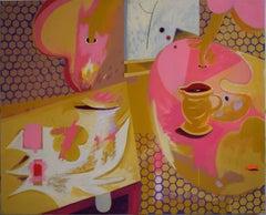 Its still life 5 - Pink, Red, Purple, Mustard, Cezanne & Braque influence