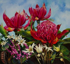 Abundance - Botanical painting, Waratah landscape painting, Red, blue and green