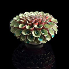 Lime and Cherry Pompom -  inspired by flowers and plants around us, red, green