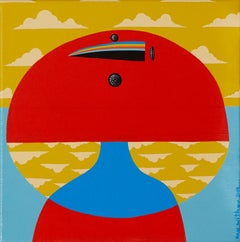 Head in the Clouds - Bright bold colours, playful, red, blue, white, mustard