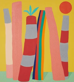 Poles in the Sun - Clean lines, vivid colours, solid shapes, pink, red, sky blue