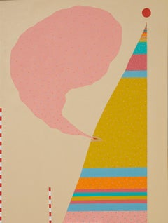 Reaching for the Sun - solid shapes imbued with movement, pink, mustard, aqua