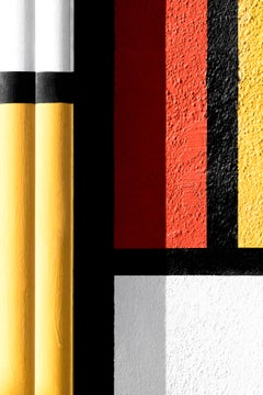 Philly Mondrian 2 - focuses on lines in urban landscape, red, yellow, black