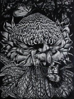 Wild Summer Gone - Relief Linocut Print of Australian Waratah and Butterflies