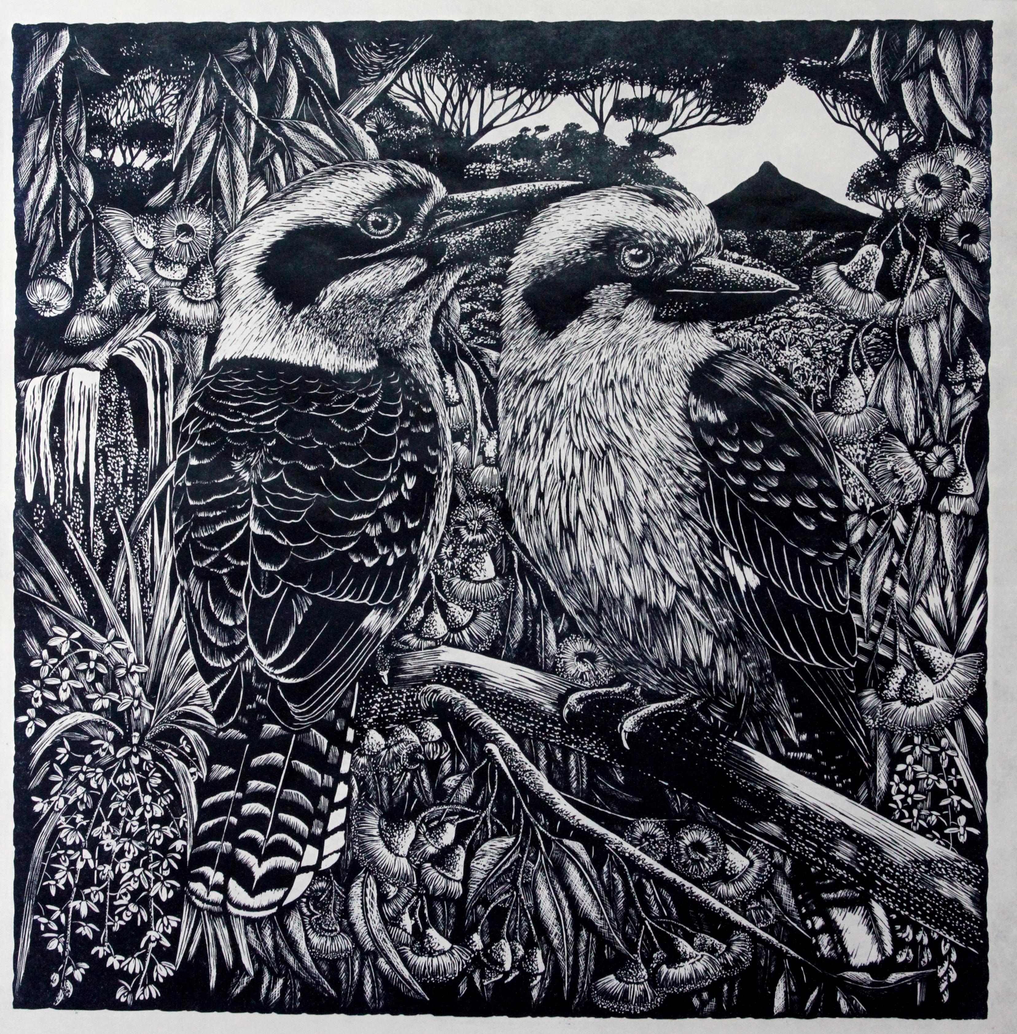 Dawn and Dusk - Relief Linocut Print of Australian Kookaburra's and Flowers