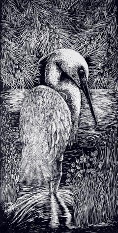 Shallow Waters I - Relief Linocut Print of Australian Bird in a Waterhole
