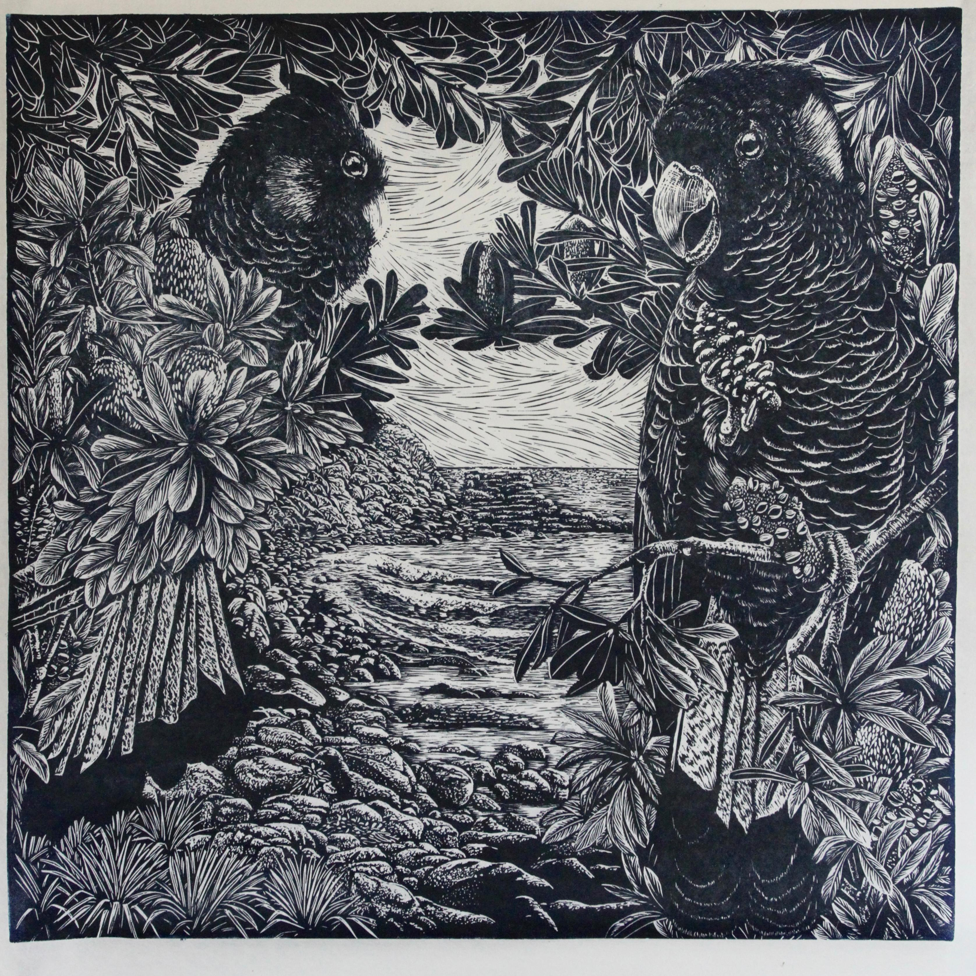 North End Mollymook - Relief Linocut Print of Yellow Tailed Black Cockatoos