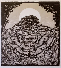 Dithul -Two Colour Reduction Print, Moth and Mountain