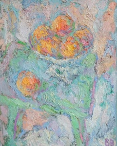 Peaches - 21st Century Contemporary Oil Painting - Impressionist Still Life