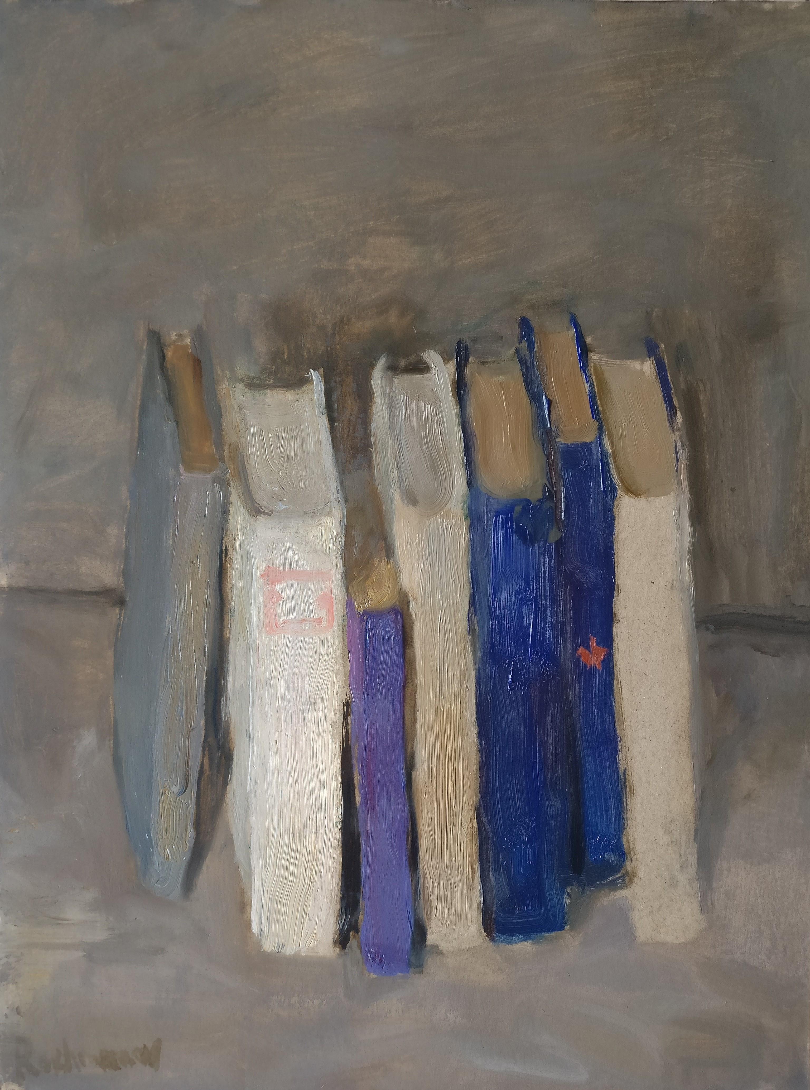Still Life With Books - Samir Rakhmanov 21st Century Contemporary Oil Painting