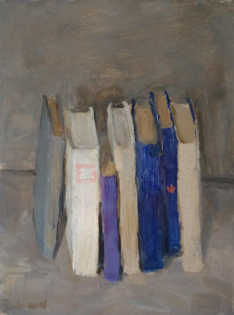 Still Life With Books - Samir Rakhmanov 21st Century Contemporary Oil Painting  - Gray Figurative Painting by Samir Rakhmanov