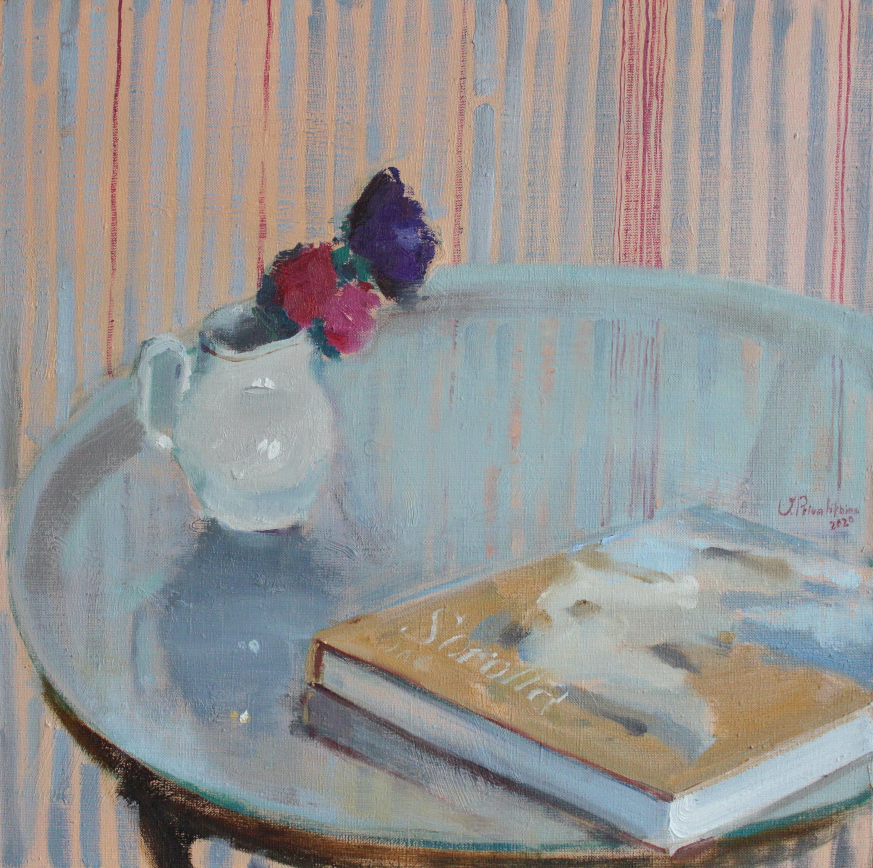 Still Life With Sorolla's Album - 21st Century Contemporary Oil Painting